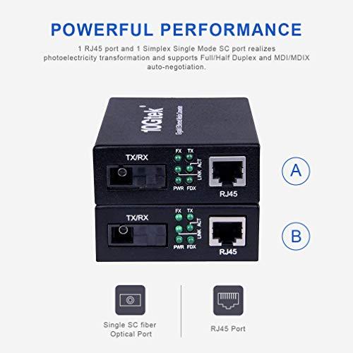 Gigabit Ethernet Media Converter, a Pair of Bi-Directional Single Mode SC Fiber Converter, 1000Base-LX to 10/100/1000Base-Tx, up to 20km by 10Gtek (Image #2)