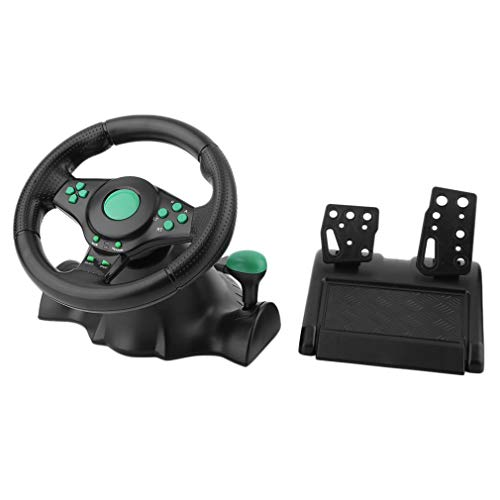 (WANTOOSE USB Wired Steering Wheel & Pedals/Racing Wheel with Pedals Controller/for PC, PS3, PS2, Gaming,Green,9804 )