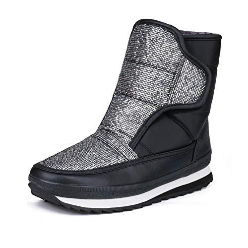 DETAIWIN Women's Warm Winter Boots Plush Waterproof Slip On Comfortable Platform Riding Mid-Calf Boots