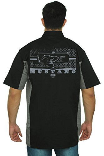Men's Mechanic Work Shirt Ford Mustang Honeycomb Grille: Black/Grey (XL)