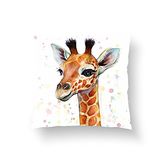 Zippered Pillow Covers Pillowcases 16x16 Inch Giraffe Baby is so Cute Pillow Cases Cushion Cover for Home Sofa Bedding