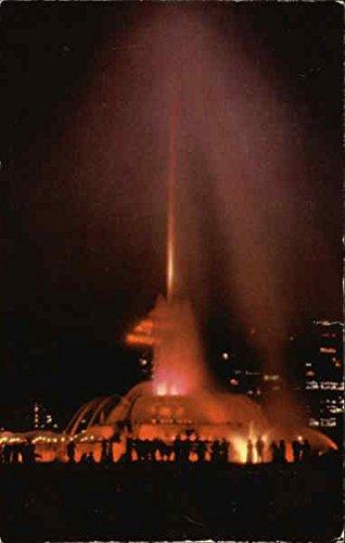Night View of the Buckingham Fountain Chicago, Illinois Original Vintage Postcard - Buckingham Fountain