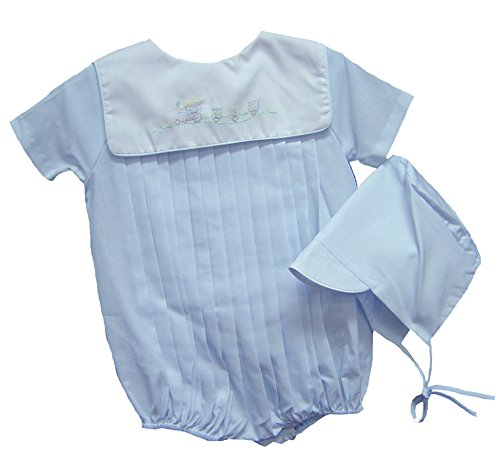 Petit Ami Boys Shadow Embroidered Train Romper with Hat Blue (3 months)