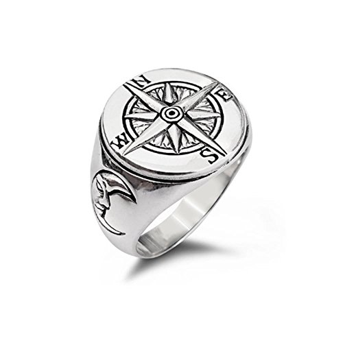 Nautical Magnetic Compass Navigation Crescent Moon Face Ring (12) (Magnetic Sterling Silver Ring)