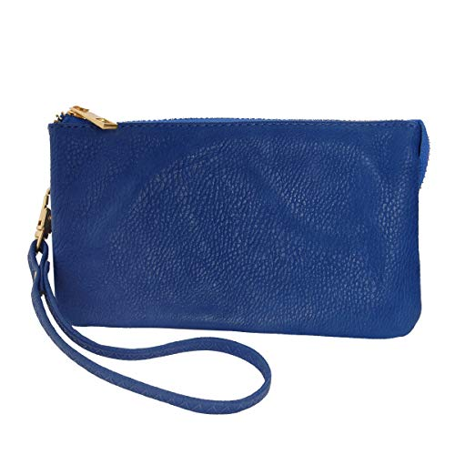 (Humble Chic Vegan Leather Wristlet Wallet Clutch Bag - Small Phone Purse Handbag, Royal Blue, Cobalt)