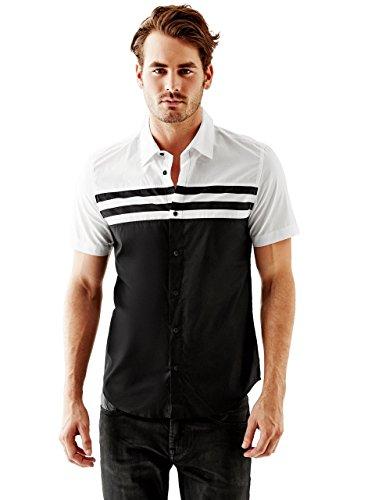GUESS Men's Pierce Short-Sleeve Mixed-Stripe Slim-Fit Shirt