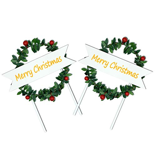 2Pcs Christmas Wreath Cake Topper Cupcake Topper Decoration Christmas Party Decor Floral Wreath Flowers (Dessert Log Christmas)
