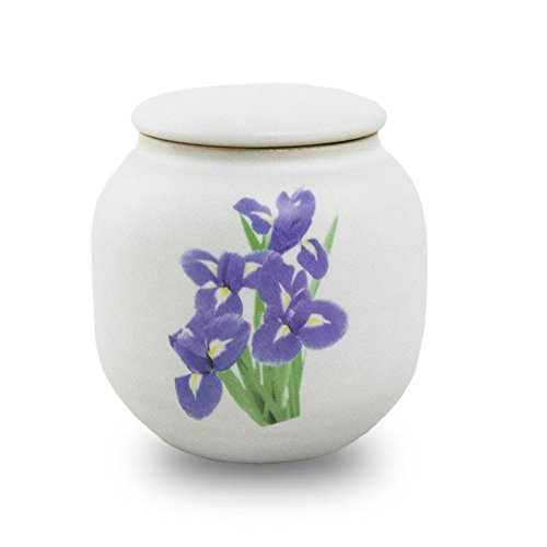 OneWorld Memorials Iris Bouquet Ceramic Pet Urn - Extra Small - Holds Up To 12 Cubic Inches of Ashes - White Cremation Urn for Ashes - Engraving Sold Separately Iris Urn