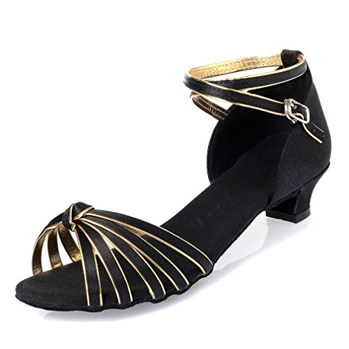 Leather Samba Dance Dance BYLE Shoes Tip Shoes Children's Dance Black Ankle Latin Gold Knot Onecolor Shoes Sandals Strap Jazz Bottom Latin Soft Modern Adult SvwxIZ6qdw