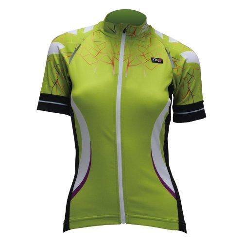 (NSR Women's Spider Short Sleeve Jersey, Green, XX-Small)