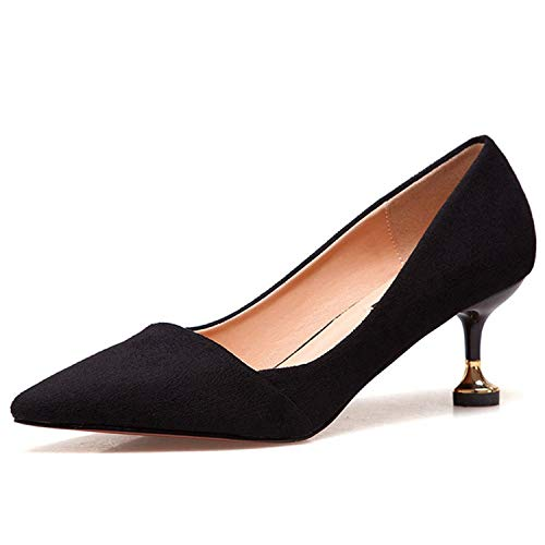 (AMAZING AMAZING 6cm Metal Heels Women's Shoes Show Thin Concise Solid Flock Shallow Women)