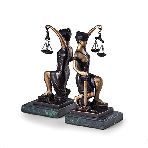 (Paloma Collection AJ-R19J Bronze Kneeling Lady Justice Booken Green Marble)