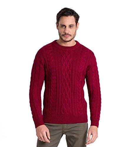 WoolOvers Pullover mit Aran-Muster aus reiner Wolle für Herren Burgundy, S