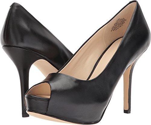Black Peep Toe Heels (Nine West Women's Qtpie Black Leather 9.5 M US)