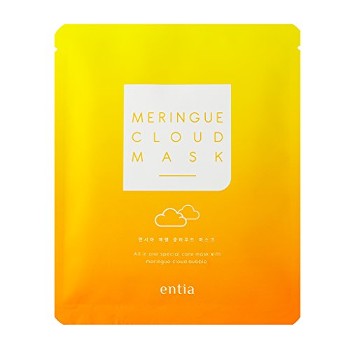 [ENTIA] Meringue Cloud Mask Pack of 5 / Egg White Bubble Cleansing Facial Mask for Radiant Skin, Deep Pore Cleansing Mask Sheet, Albumin & Natural AHA & Vitamin C Skin Brightening Mask