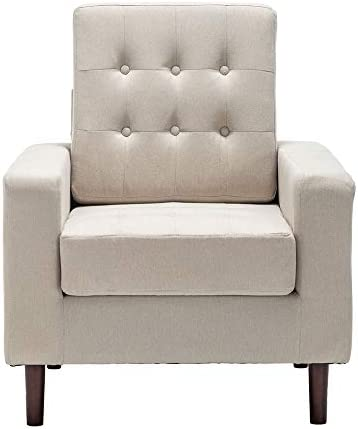 Bedroom Accent Armchair Mid-Century Fabric Arm Chair