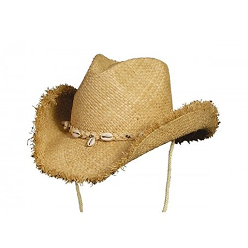 Conner Hats Women's San Juan Shapeable Western Raffia Freyed Hat, Natural, OS