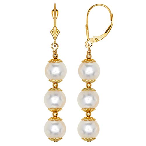 Jewelryweb 14k Yellow Gold White Freshwater Cultured Pearl Drop Lever-back Earrings for Women (3-lengths) (Triple Drop/46mm)