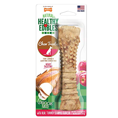 (Nylabone Healthy Edibles Turkey & Apple Flavored Dog Treats | All Natural Grain Free Dog Treats Made In the USA Only | Small and Large Dog Chew Treats | 1 Count )