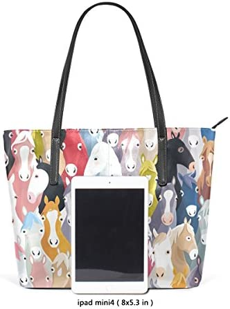 COOSUN Motif de Poney coloré Cartoon Chevaux PU Sac à Main Sac à bandoulière en Cuir et Sacs à Main Sac fourre-Tout pour Les Femmes Moyen muticolour