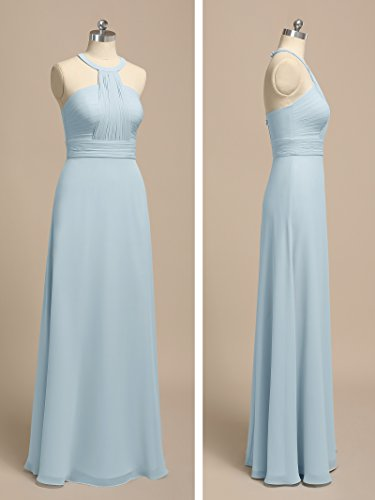 Prom Chiffon Halter Long Alicepub Evening Regency Dresses Pleating Bridesmaid Gowns Prom UPTnqwAOx