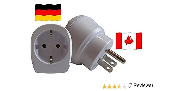 Enchufe de Viaje de Diseño Adaptador para Canadá con Alemania Tipo Schuko Conmutador CA-D: Amazon.es: Iluminación