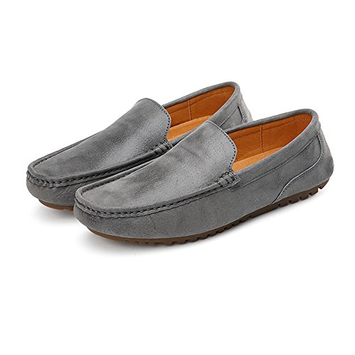 Boat Y Suave Loafers Mens Leather Driving Gris Plana Xiazhi Suela Ox shoes Genuine Mocassins Penny 8AwOSq