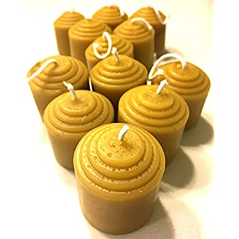 Beeswax Votive Candles - 12 Hour Each, 12 Pack, 144 Hours - 100% Pure Bees Wax - Unscented - All Natural Light Honey Scent