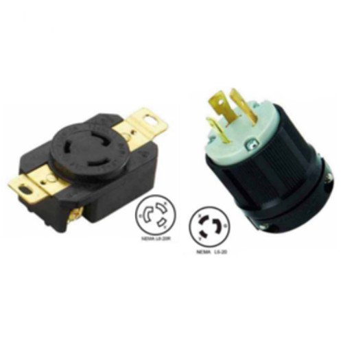 (NEMA L6-20 Plug and Receptacle Set - Rated for 20A, 250V, 3-Wire, 2 Pole - cUL Listed)