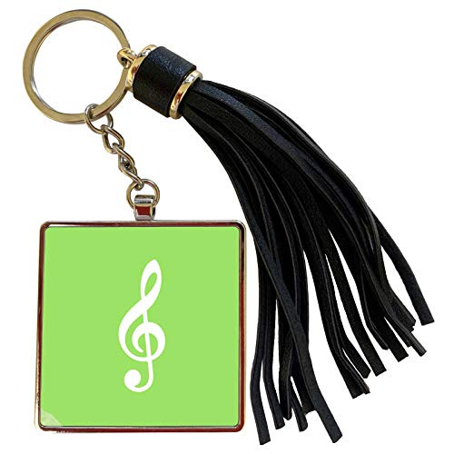 3dRose InspirationzStore Music Art Designs - Light Green Treble Clef Music Notation - G clef musical note musician - Tassel Key Chain (tkc_232109_1) (Oasis A Great Big World Piano Sheet Music)