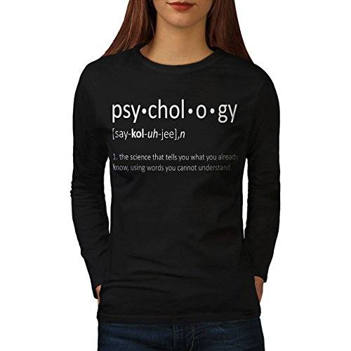 wellcoda Psychology Science Womens Long Sleeve T-Shirt, Funny Graphic DesignBlack M