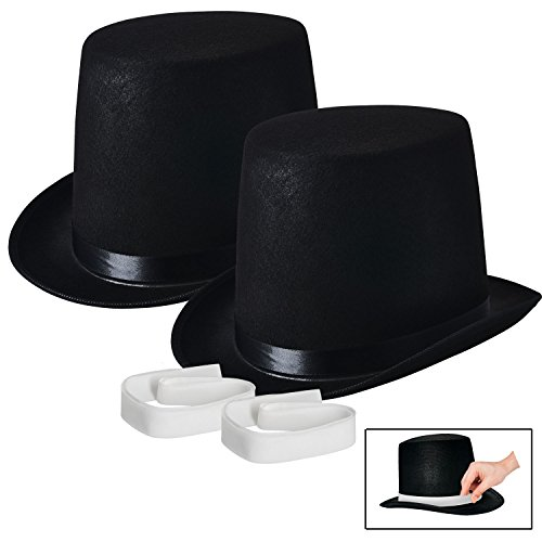 Rich Uncle Pennybags Costume (NJ Novelty - Black Top Hat, Tall Party Hat Costume Dress Up Accessory (Black - 2 Pack))