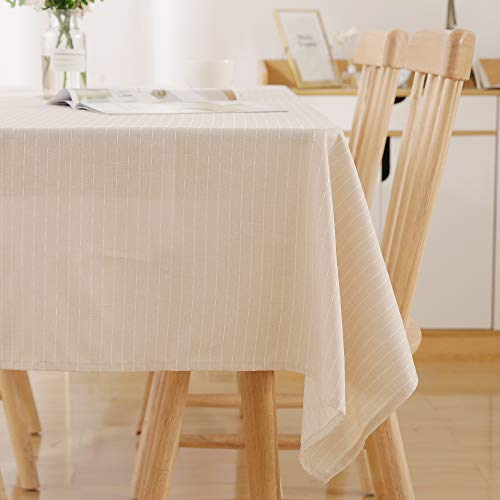 Deconovo Beige Striped Water Resistant Rectangle Tablecloth Table Cloth 54 x 84 Inch for Kitchen Dining Tabletop Decoration