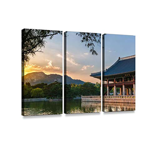 - Gyeongbokgung Palace Print On Canvas Wall Artwork Modern Photography Home Decor Unique Pattern Stretched and Framed 3 Piece