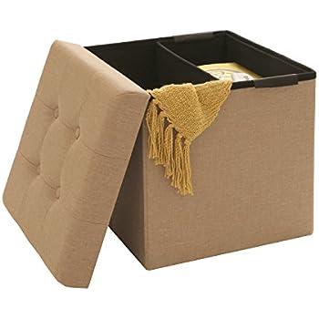 Seville Classics Foldable Tufted Storage Ottoman /w Bin, Oatmeal Beige