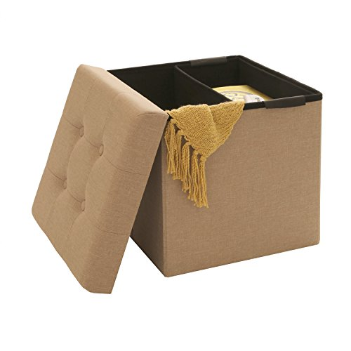 Seville Classics Foldable Tufted Storage Ottoman /w Bin, Oatmeal Beige Off White Fabric Seat