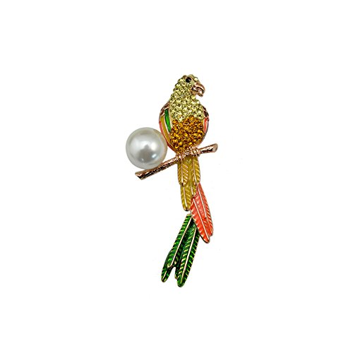 Winter's Secret Yellow Exotic Fantasy Color Parrot Brooch Diamond Accented Little Bird Pin - Bedouin Horse Costume