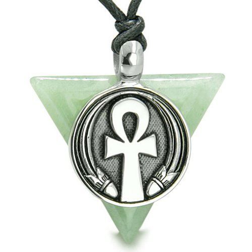 Amulet Ankh Egyptian Powers of Life Pyramid Green Quartz