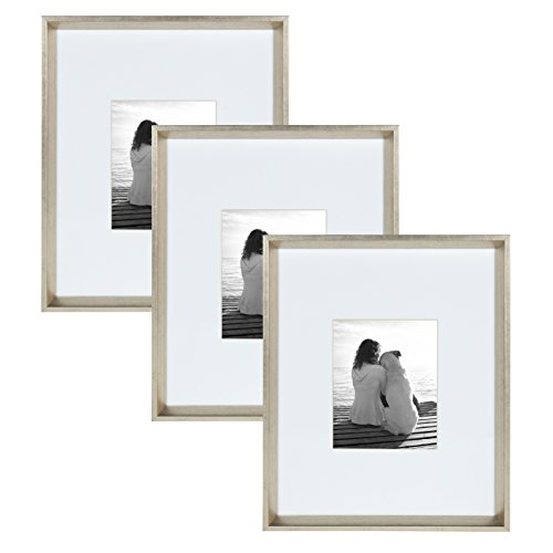 - Kate and Laurel Calter Modern Wall Picture Frame Set, Silver 16x20 matted to 8x10, Pack of 3