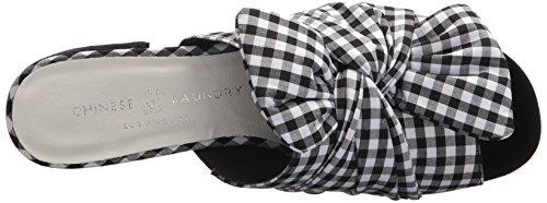 Chinese Laundry Kvinders Marlowe Slide Sandal Blk / Wht Gingham TWcB6