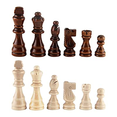 "Amerous Wooden Chess Picess 3.03"" King, Hand Carved Figure Figurine Chess Pawns Nature Wood Chessmen, French Staunton Style"