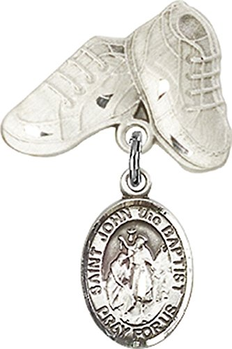 Sterling Silver Baby Badge Baby Boots Pin with Saint John the Baptist Charm, 3/4 Inch