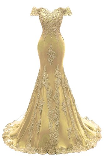 Himoda Women's V Neckline Beaded Evening Gowns Mermaid Lace Prom Dresses Long H074 14 Gold