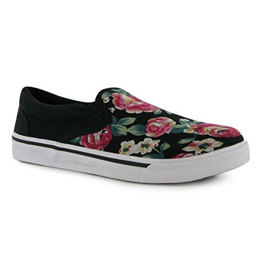 Babycham Della Slip on Chaussures de skate pour femme Noir/Multi Baskets Sneakers Chaussures
