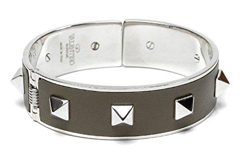 Wiberlux Valentino Women's Silver Stud Detail Steel Cuff Bracelet One Size Olive by Wiberlux (Image #7)