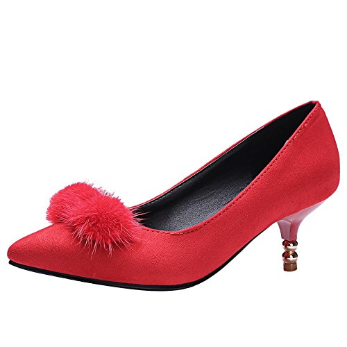 Rot Spitze Damen Zehe Charm Schuhe Gericht Slip On Mee Ferse Mitte Shoes Xn77RP