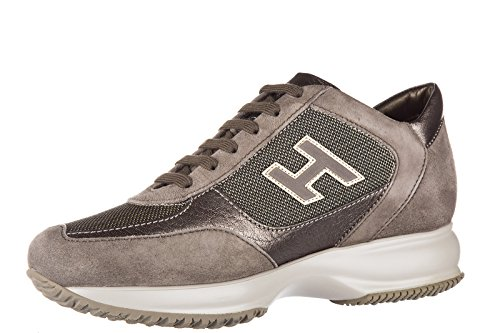 Hogan chaussures baskets sneakers femme en daim interactive h flock marron