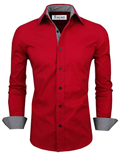 TAM WARE Mens Classic Slim Fit Contrast Inner Long Sleeve Dress Shirts TWNMS314-1-317-WINE-US XXL