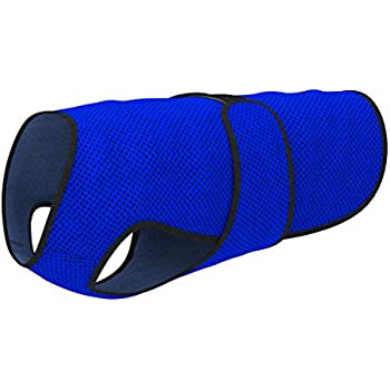 Dog Cooling Vest. Lightweight Jacket with Evaporative Cool Microfiber Technology, UV Protection Shirt, Sizing for Small, Medium and Large Dogs (S, Dark Blue)
