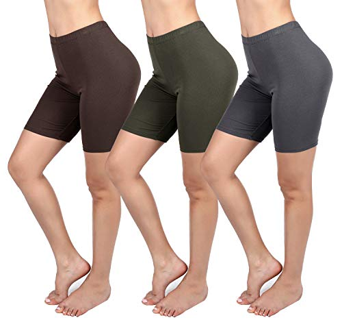 (PINKPHOENIXFLY Basic Women's Soft Active Stretch Workout Shorts Leggings (X-Large, 3 Pack:Brown,Army Green,Drak Gray))